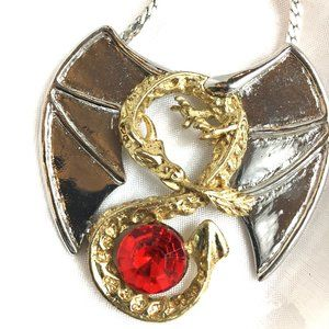 Winged Dragon Silver & Gold Color Metal Necklace